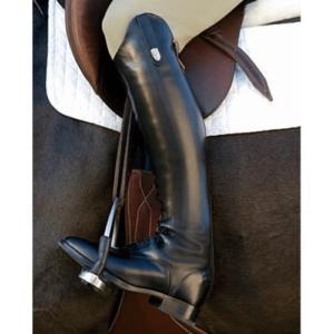 black riding boot in stirrup