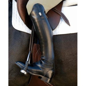black riding boot in stirrup