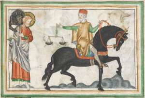 medieval painting depicting a palfrey, a gaited horse used for general riding