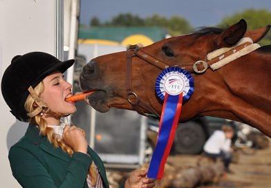 horse and girl sharing a carrot at a show